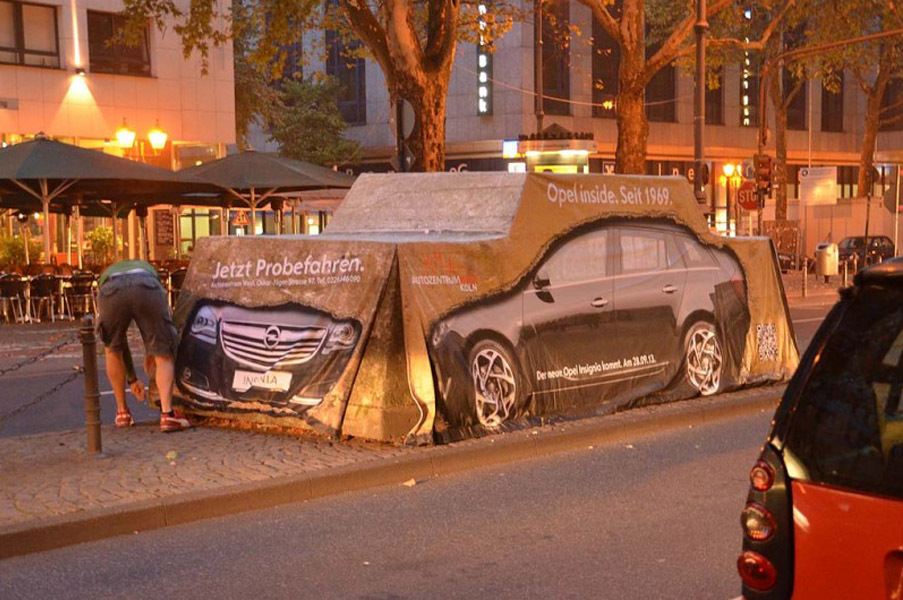 Kölner Aktionskunst. Guerilla-Marketing mit 'Big-Bang' für Opel