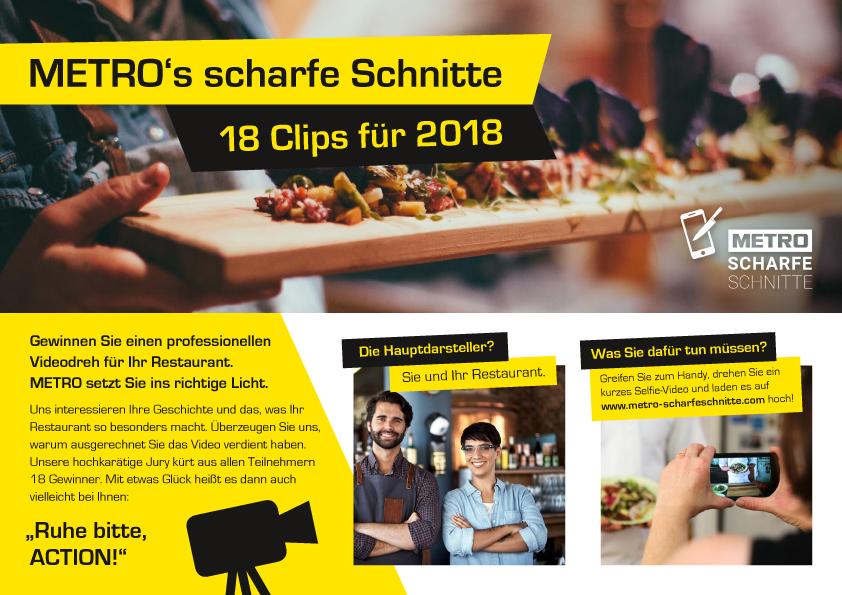 """Video-Wettbewerb für Handelsriese Metro """"Scharfe Schnitte 2018"""""""